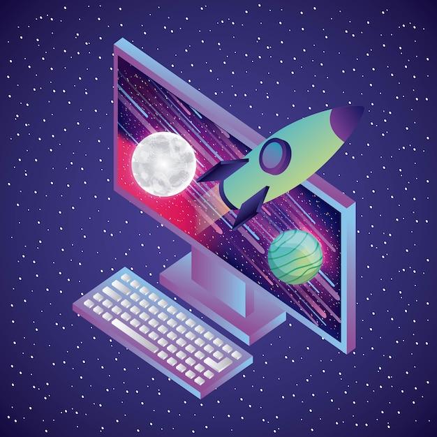 Foguete de computador Vetor Premium