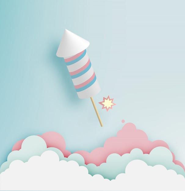 Foguete de fogo de artifício com fundo de tom pastel na arte de papel Vetor Premium