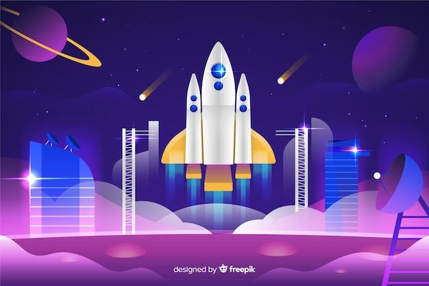 Foguete de gradiente em uma plataforma de lançamento Vetor grátis