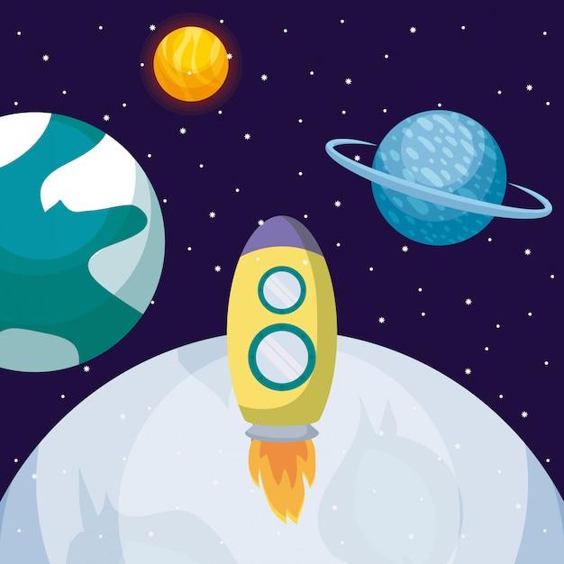 Foguete de inicialização com a lua e planetas Vetor Premium