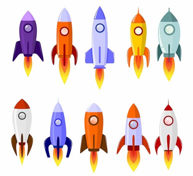 Foguete espacial arranque conjunto de símbolo de lançamento do conceito Vetor Premium