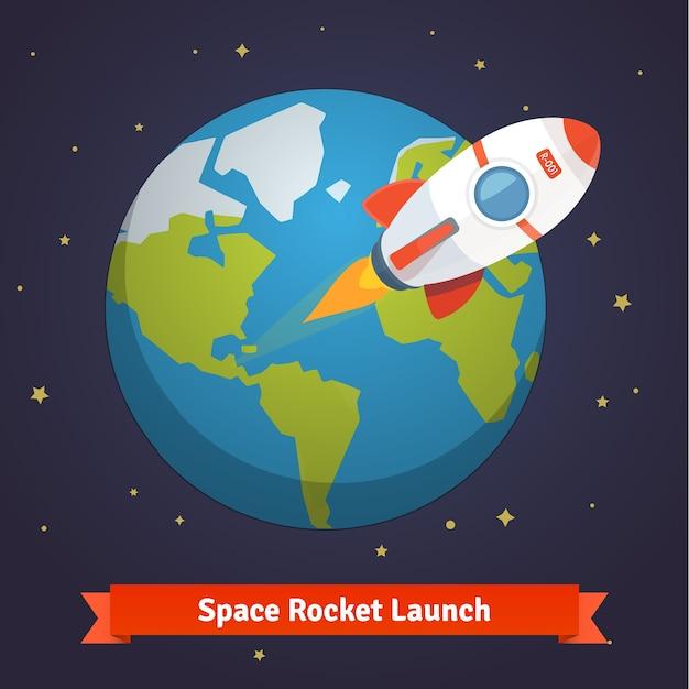 Foguete espacial dos desenhos animados que sai da órbita terrestre Vetor grátis