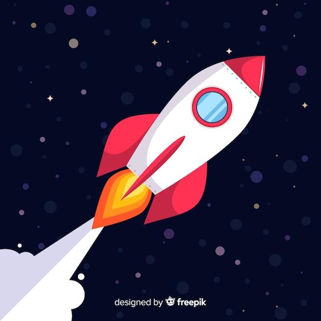Foguete espacial moderno com design plano Vetor Premium