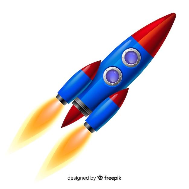 Foguete espacial moderno com design realista Vetor grátis