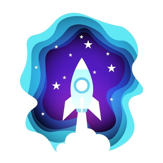 Foguete espacial no céu noturno sobre estrelas a brilhar Vetor Premium