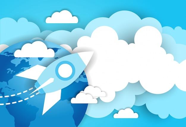 Foguete espacial no céu sobre o fundo azul do modelo de terra e nuvens Vetor Premium