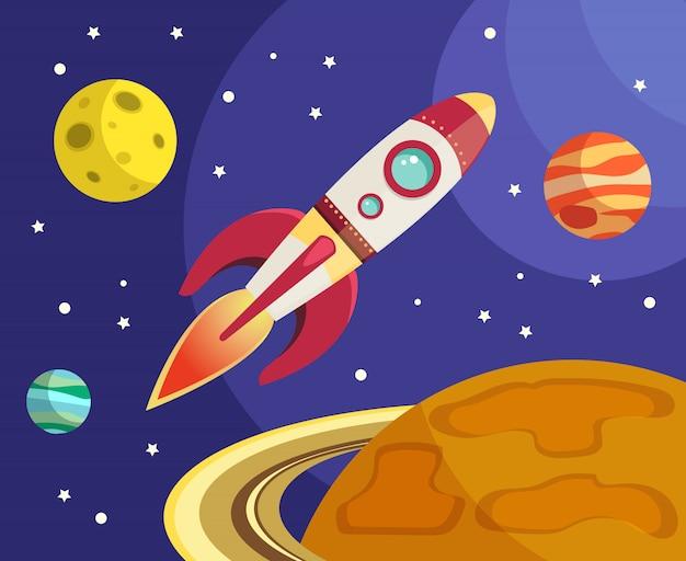 Foguete espacial voando no espaço com planetas e estrelas de ilustração vetorial Vetor grátis