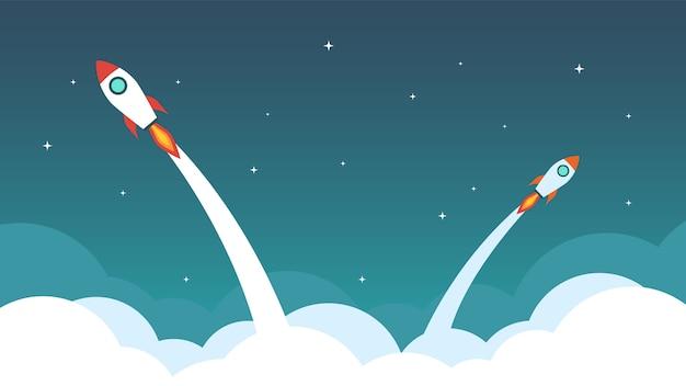 Foguete estão voando no céu. Vetor Premium