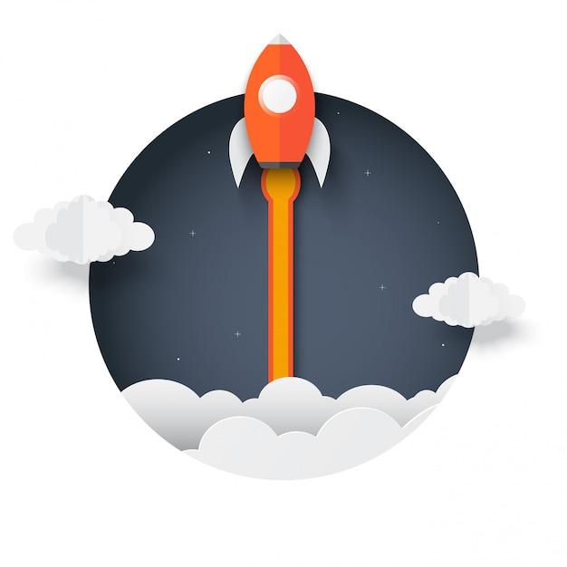 Foguete fora da caixa. lançamento do ônibus espacial para o céu ejetado do círculo. conceito de negócio de inicialização. criativo. foguete de ícone. arte de papel de ilustração vetorial. Vetor Premium