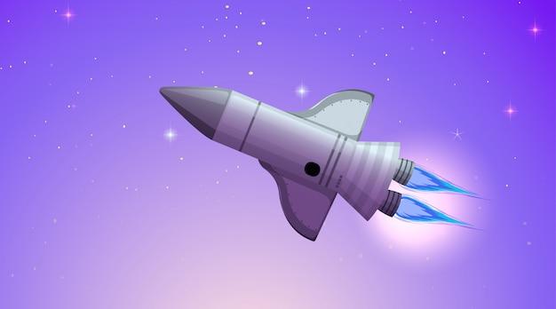 Foguete na cena do espaço ou plano de fundo Vetor grátis