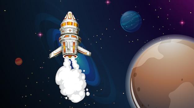 Foguete voando no espaço Vetor grátis