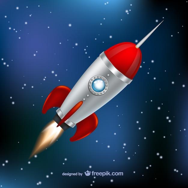 Foguete voar através do espaço Vetor grátis