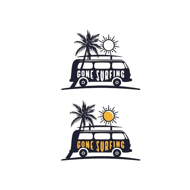 Foi o slogan do surf em vans na praia Vetor Premium