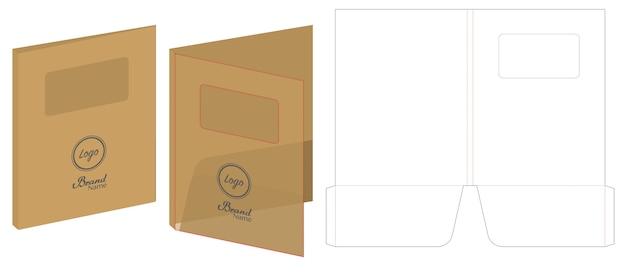 Folder die cut mock up vetor de modelo Vetor Premium