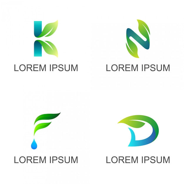 Folha com conjunto de logotipo de carta inicial Vetor Premium