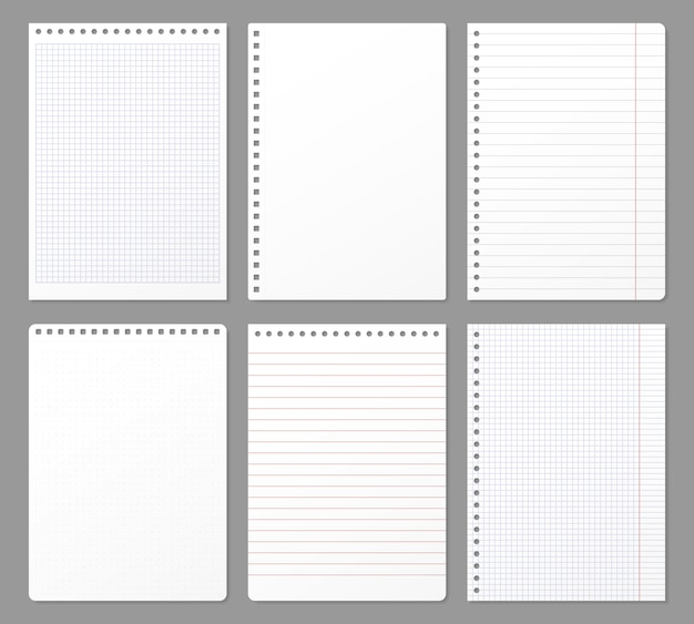 Folha de caderno. folhas rasgadas do caderno, nota de papel alinhada página e bloco de notas caderno acolchoado conjunto de ilustração de papel Vetor Premium