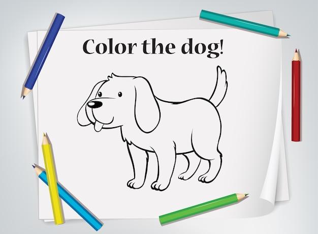 Folha de exercícios para colorir cães infantis Vetor grátis