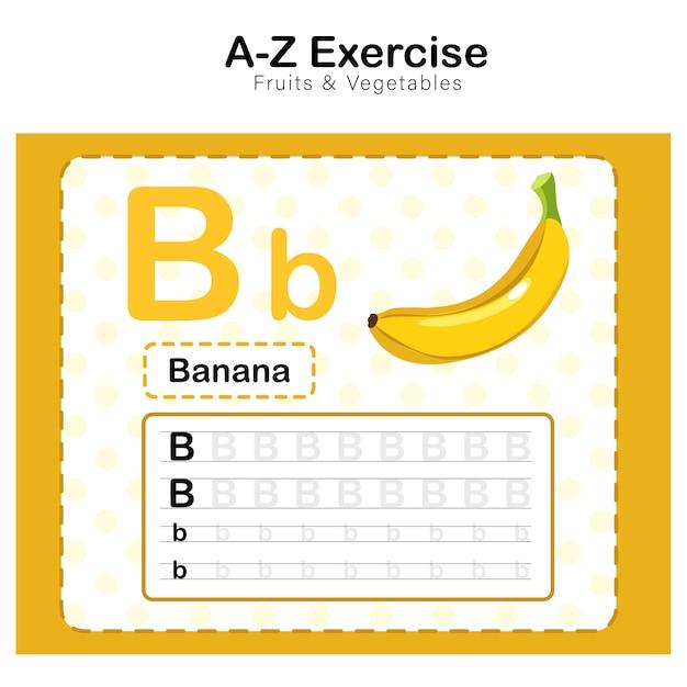 Folha de exercícios para crianças, alfabeto b. exercício com ilustração de vocabulário dos desenhos animados de banana Vetor Premium