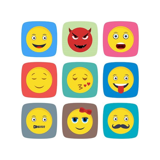 Folha de ícones emoji isolada no fundo branco Vetor Premium