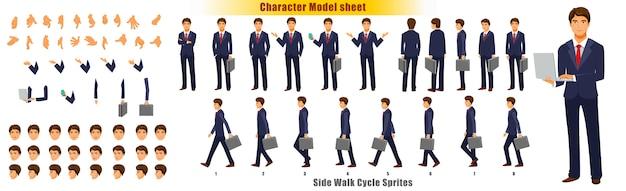 Folha de modelo de personagem de empresário com folha de sprites de animação de ciclo de pé Vetor Premium