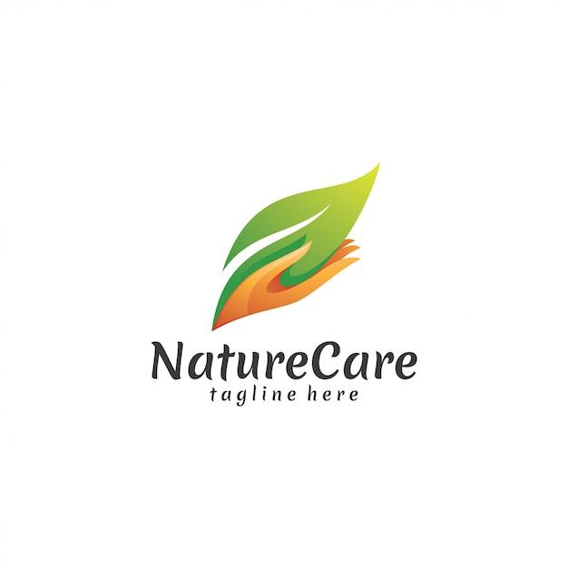 Folha de natureza moderna e ícone de logotipo de mão de cuidados Vetor Premium
