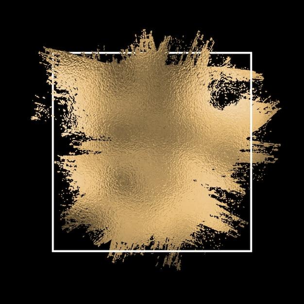 Folha de ouro splatter com moldura branca em um preto Vetor grátis
