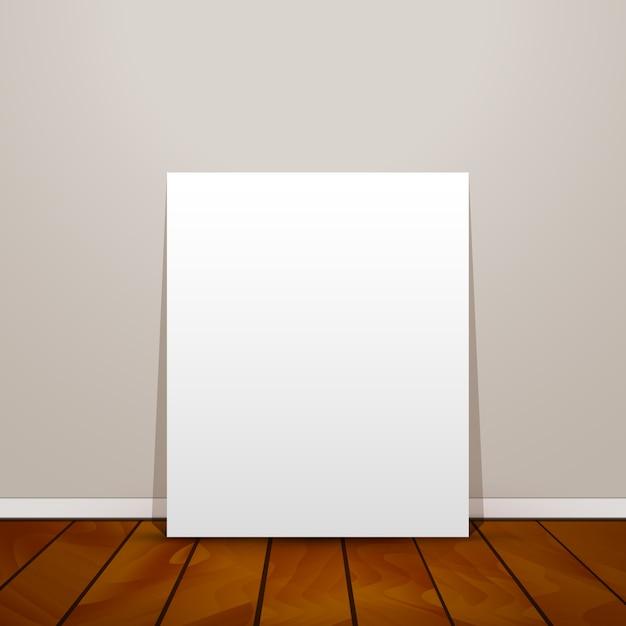 Folha de papel em branco no fundo da parede e piso de madeira Vetor Premium
