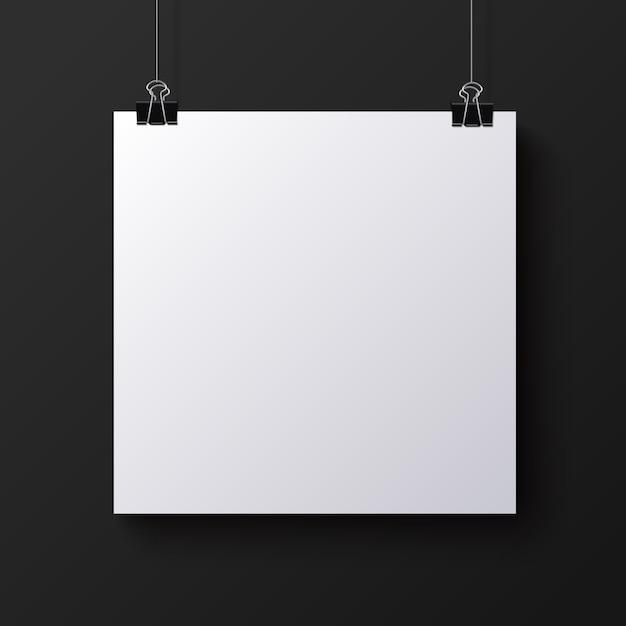 Folha de papel quadrada branca em branco, mock-up Vetor Premium