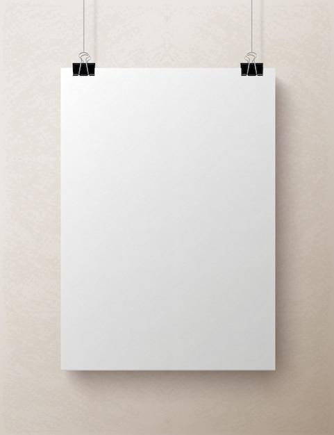 Folha de papel vertical em branco branca, mock-up Vetor Premium