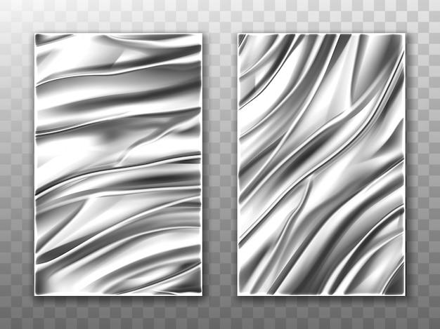 Folha de prata amassado fundo de textura de metal Vetor grátis