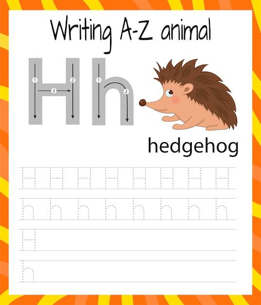 Folha de prática de caligrafia. escrita básica. jogo educativo para crianças. aprender as letras do alfabeto inglês para crianças. escrevendo a letra h Vetor Premium
