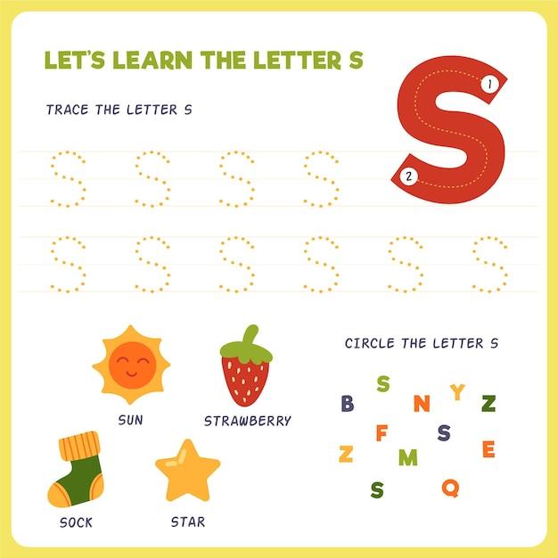 Folha de trabalho de cartas para crianças Vetor grátis