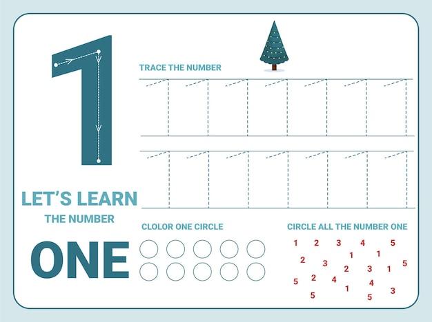 Folha de trabalho de prática de rastreamento número um com 1 árvore de natal para crianças aprendendo a contar e escrever. planilha para aprender os números. exercícios de coloração Vetor Premium