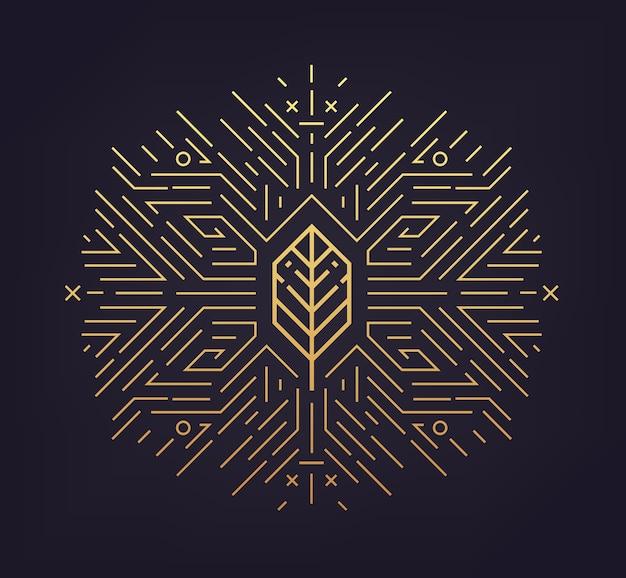 Folha, forma dourada, ícone linear. emblema abstrato, conceito, elemento de planta logotipo logotipo Vetor Premium