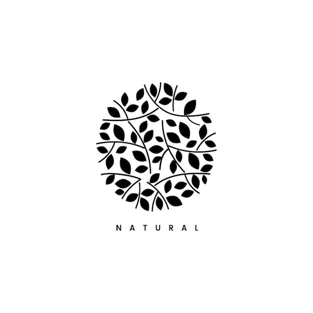 Folha natural, marca, logotipo, ilustração Vetor grátis