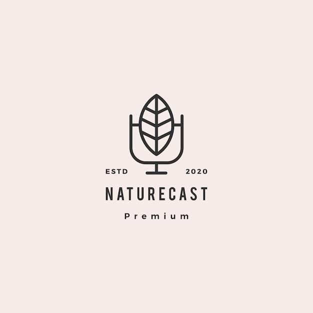 Folha podcast logotipo hipster retro vintage ícone para natureza blog vídeo vlog revisão canal transmissão de rádio Vetor Premium