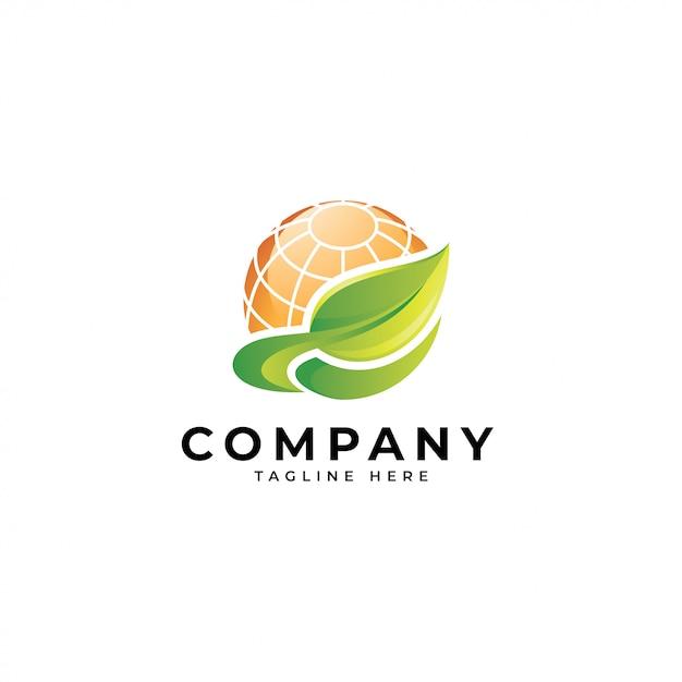 Folha verde da energia 3d colorida e logotipo do painel solar do sol Vetor Premium