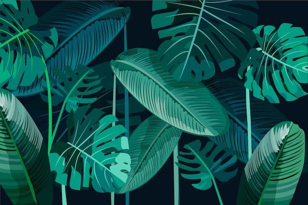 Folhagem tropical deixa o fundo Vetor grátis