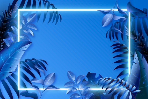 Folhas azuis realistas com moldura de néon Vetor grátis