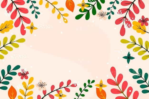 Folhas coloridas design plano cópia espaço quadro fundo Vetor grátis