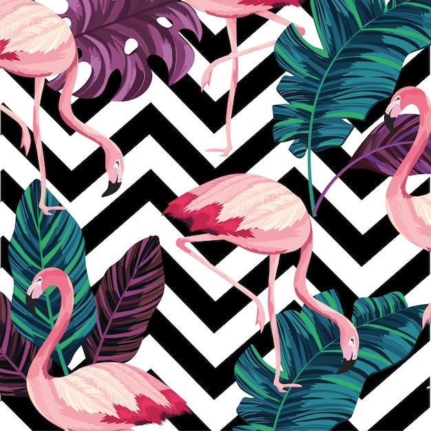 Folhas com fundo de figuras flamenga e geometrick Vetor Premium