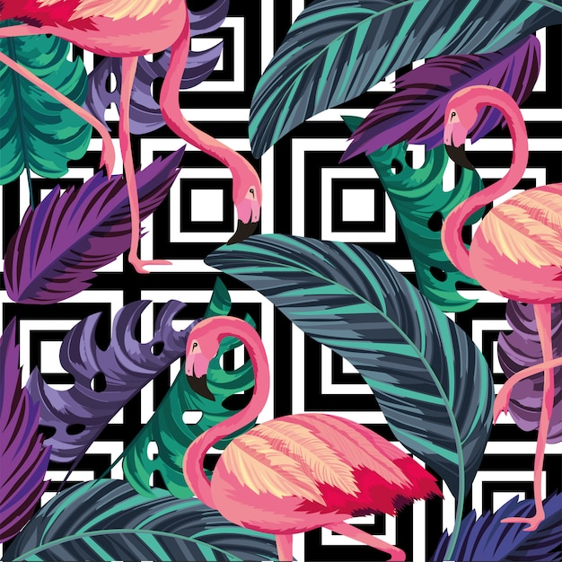 Folhas com fundo tropical flamengo e figuras Vetor Premium