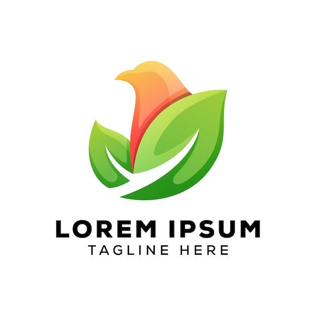 Folhas com logotipo de pássaro Vetor Premium