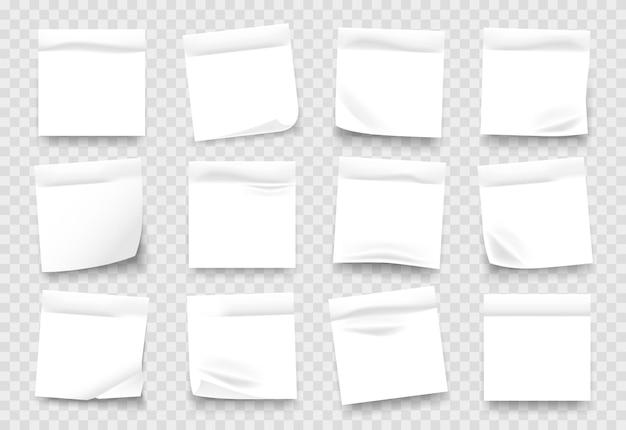 Folhas de bloco de notas brancas com bordas amassadas Vetor Premium