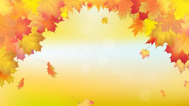 Folhas de bordo dourado outono caindo. Vetor Premium