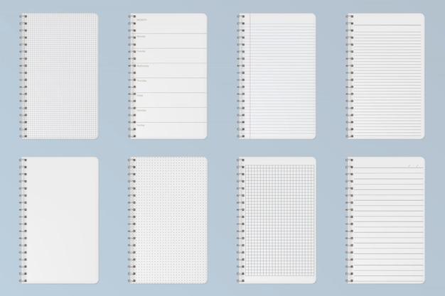 Folhas de cadernos. páginas alinhadas, quadriculadas e de pontos Vetor grátis