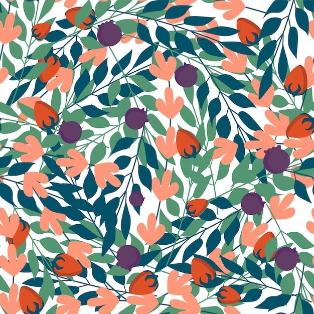 Folhas de ervas verdes e padrão sem emenda de frutos silvestres Vetor Premium