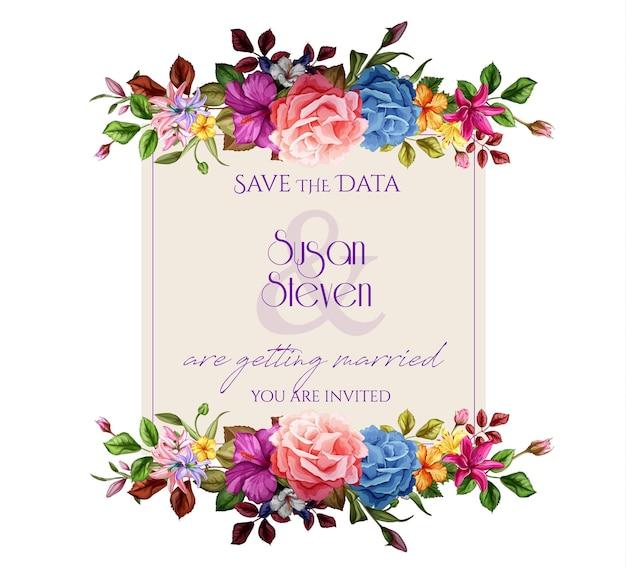 Folhas de flores de hibisco de lírio rosa realista decorado modelo vintage com padrão floral aquarela elegante. ilustração de fundo isolada. design de cartão de convite de casamento Vetor Premium