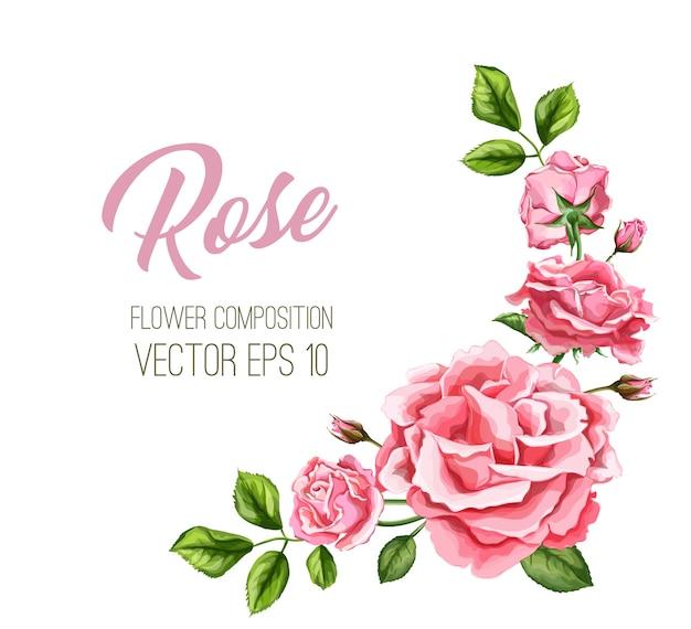 Folhas de flores rosa realistas decoradas modelo de cartão de casamento vintage com padrão floral aquarela elegante. ilustração de fundo. cartão de convite de casamento casamento Vetor Premium