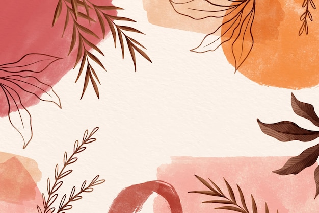 Folhas de fundo aquarela com espaço de cópia Vetor grátis